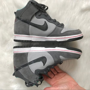 Nike Shoes - Boys Nike High Dunk Wolf Grey and Teal Sneakers